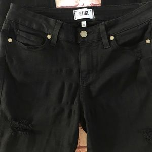 Paige distressed black jeans.